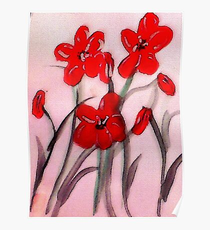 Red flowers, (bamboo brush),  watercolor Poster
