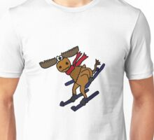 Funky Moose Wearing Red Scarf is Snow Skiing Unisex T-Shirt