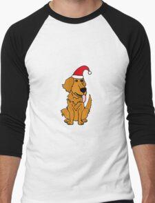 Cool Funky Golden Retriever Dog in Santa Hat Christmas Art Men's Baseball ¾ T-Shirt