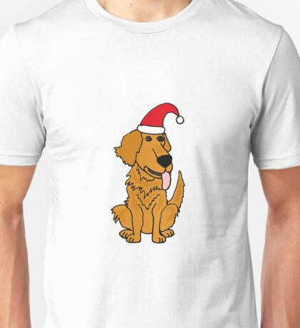 Cool Funky Golden Retriever Dog in Santa Hat Christmas Art Unisex T-Shirt