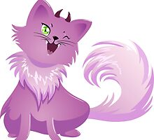 Pink Monster Cat For Halloween by Liron Peer