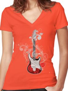 The flower guitar  Women's Fitted V-Neck T-Shirt