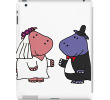 Funny Bride and Groom Hippo Wedding Original Art iPad Case/Skin
