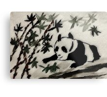 Baby trying to taste bamboo for the first time. watercolor Metal Print
