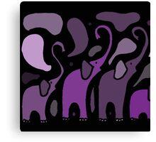 Awesome Purple Abstract Art Elephants Original Art Canvas Print