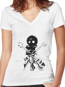 Flcl black Women's Fitted V-Neck T-Shirt