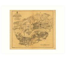 Civil War Knoxville Tennessee Map (1864) Art Print