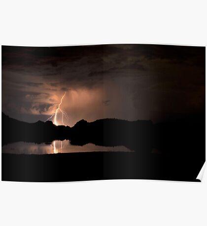 Lightning Over Willow Lake Poster