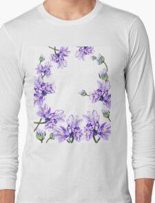Purple Flowers Botanical Swirl Long Sleeve T-Shirt
