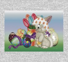 Bunny with lots of chocolate eggs One Piece - Short Sleeve