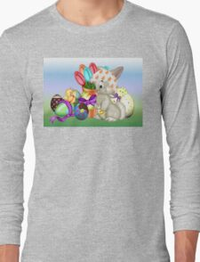 Bunny with lots of chocolate eggs Long Sleeve T-Shirt