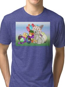 Bunny with lots of chocolate eggs Tri-blend T-Shirt