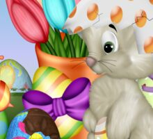 Bunny with lots of chocolate eggs Sticker