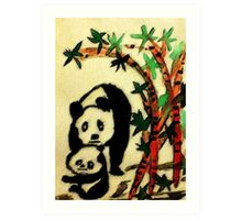 Mother and Baby Pandas, watercolor Art Print