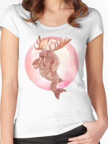 The Space Walrus On Moon Patrol. Women's Fitted Scoop T-Shirt