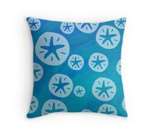 Sand Dollar White and Blue Pattern  Throw Pillow