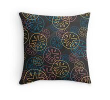 Sand Dollar Lines Red Yellow Blue  Throw Pillow