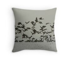 wild geese on a winter morning Throw Pillow