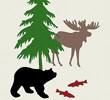 Moose and Bear Art by Christina Rollo