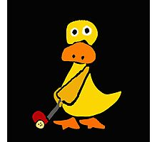 Awesome Funky Yellow Duck Playing Golf Photographic Print