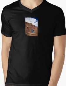 Taos Pueblo Mens V-Neck T-Shirt