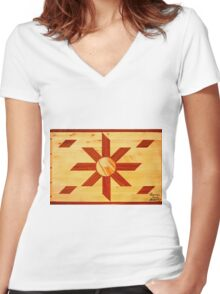 Religous Coffee Table Landscape Women's Fitted V-Neck T-Shirt