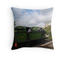 Corfe Castle station Throw Pillow