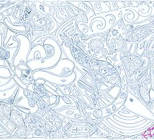 'Secret Treasures of the Fateful Mermaid ~ The Blueprints' Pieces Art™ by Kayla Napua Kong