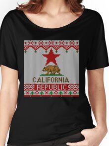 California Republic Bear on Christmas Ugly Sweater Women's Relaxed Fit T-Shirt