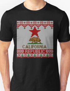 California Republic Bear on Christmas Ugly Sweater Unisex T-Shirt