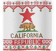 California Republic Bear on Christmas Ugly Sweater Poster