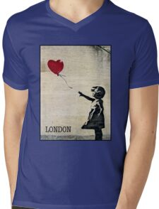 Banksy's Girl with a Red Balloon III Mens V-Neck T-Shirt