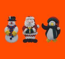 Christmas Snowman Santa and Penguin Kids Tee