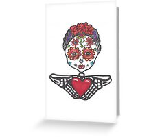 Day of the Dead woman with heart in hands Greeting Card