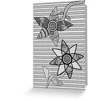 Black And White Abstract Floral Design Greeting Card