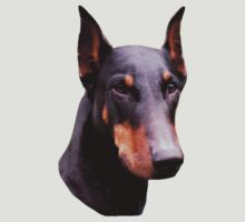 Pretty Black Doberman Face Shirt by SmilinEyes