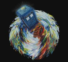 Blue Phone Booth jump into time Vortex art painting Kids Clothes