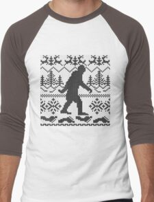 Gone Squatchin Ugly Christmas Sweater Knit Style Men's Baseball ¾ T-Shirt