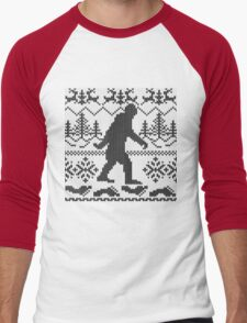 Gone Squatchin Ugly Christmas Sweater Knit Style Men's Baseball ¾ T-Shirt