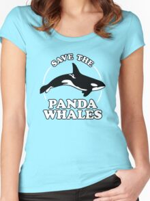 Save The Panda Whales Women's Fitted Scoop T-Shirt
