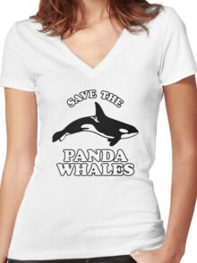 Save The Panda Whales Women's Fitted V-Neck T-Shirt