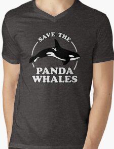 Save The Panda Whales Mens V-Neck T-Shirt