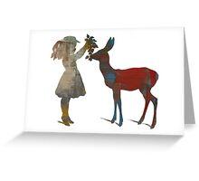Girl Feeding Deer - Modern Digital Design Greeting Card