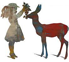 Girl Feeding Deer - Modern Digital Design Photographic Print
