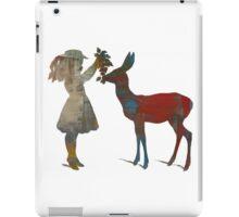 Girl Feeding Deer - Modern Digital Design iPad Case/Skin