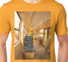 Empty tram rides on the streets of the city Unisex T-Shirt