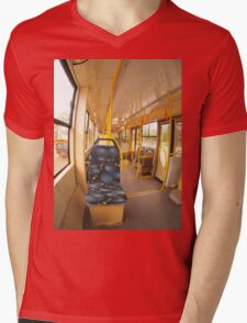 Empty tram rides on the streets of the city Mens V-Neck T-Shirt