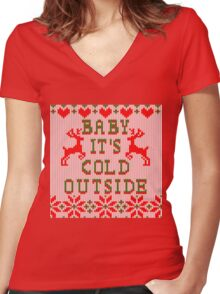Baby It's Cold Outside Ugly Sweater Style Women's Fitted V-Neck T-Shirt