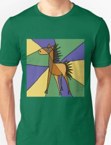 Funny Folk Art Colorful Horse Original Art T-Shirt