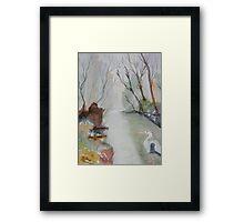 Heron and Morning Mist  Framed Print